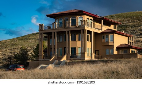 Boise, ID - March 30, 2019: High desert home in hills of southern Boise.