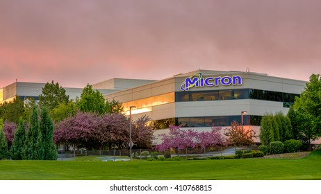 Boise, ID, USA - April 22, 2016: Micron Technology Boise . Micron is a leading company in semiconductor manufacturing. Sunrise in the spring