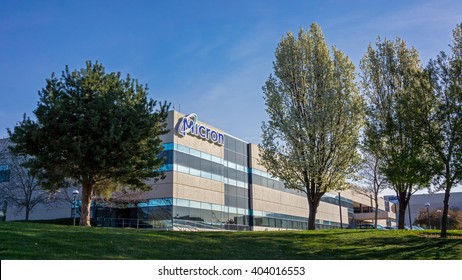 Boise, ID, USA - March 25, 2016: Micron Technology Boise . Micron is a leading company in semiconductor manufacturing. Spring and flowering trees