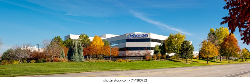 Boise, ID, USA - October 27, 2017: Micron Technology Boise . Micron is a leading company in semiconductor manufacturing. Autumn trees adorn the front of the business.