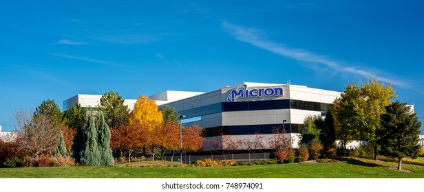 Boise, ID, USA - October 27, 2017: Micron Technology Boise . Micron is a leading company in semiconductor manufacturing. Close up of building frontage with beautiful fall trees.