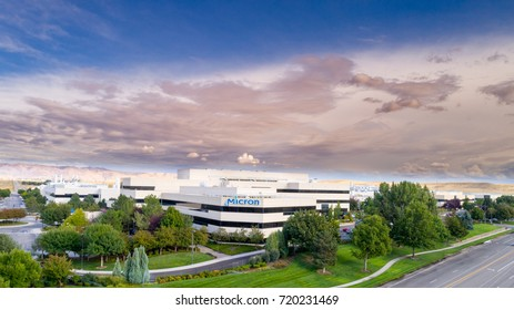 Boise, ID, USA - September 21, 2017: Micron Technology Boise . Micron is a leading company in semiconductor manufacturing. Building front with clouds sky