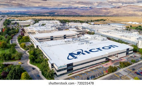 Boise, ID, USA - September 21, 2017: Micron Technology Boise . Micron is a leading company in semiconductor manufacturing. View of top of building with name