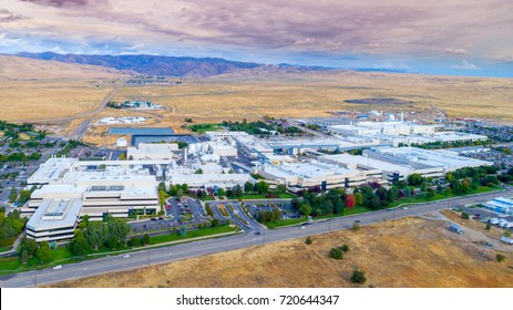 Boise, ID, USA - September 21, 2017: Micron Technology Boise . Micron is a leading company in semiconductor manufacturing. Aerial view of all buildings Boise site