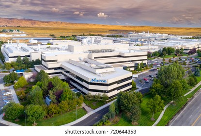 Boise, ID, USA - September 21, 2017: Micron Technology Boise . Micron is a leading company in semiconductor manufacturing. Aerial view of main building