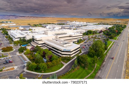 Boise, ID, USA - September 21, 2017: Micron Technology Boise . Micron is a leading company in semiconductor manufacturing. Aerial view of main front building