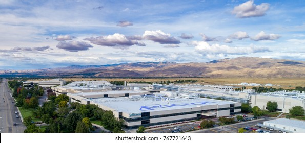 Boise, ID, USA - September 21, 2017: Micron Technology Boise . Micron is a leading company in semiconductor manufacturing. Aerial view of the company with name on the roof.