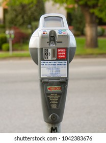 BOISE, IDAHO - APRIL 24, 2016: Closeup of a parking meter that currently is not in use. location was in downtown boise