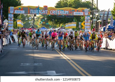 BOISE, IDAHO - JULY 14, 2018: bikers at the Boise Twilight Criterium at the start of the race