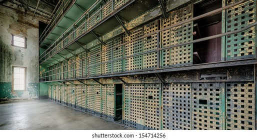BOISE, IDAHO - JULY 31: Cell block at the Old Idaho State Penitentiary on July 31, 2013 in Boise, Idaho