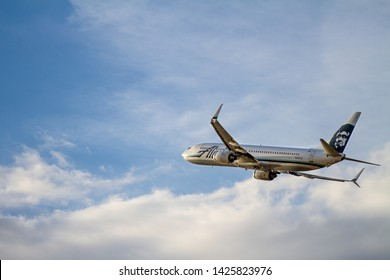 BOISE, IDAHO - MAY 29, 2019: Alaskan air flight taking off from the Boise airport