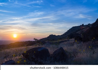 Boise, Idaho - September 10, 2017: Smoke in the air from summer wildfires make for a breathtaking sunset; a foothills view of the Treasure Valley from Warm Springs Mesa.