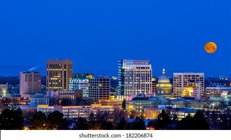 Boise Idaho skyline at night with moon