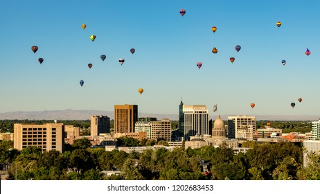 Boise Idaho skyline in summer with a balloon festival floating by