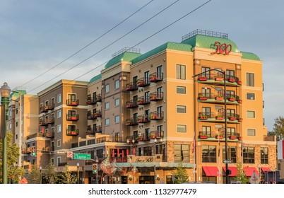 Boise, Idaho, USA - June 5, 2018: Inn at 500 Capitol, Hotel in Downtown Boise.