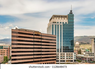 Boise, Idaho, USA - June 7, 2018: Downtown Boise Financial District Skyscrapers and the State Capital Building. Zions Bank and Wells Fargo towers on a summer afternoon.