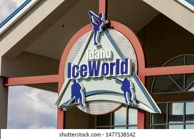 BOISE, IDAHO / USA - MAY 29, 2019 - Sign for the Ice World the local skating rink in Boise, Idaho