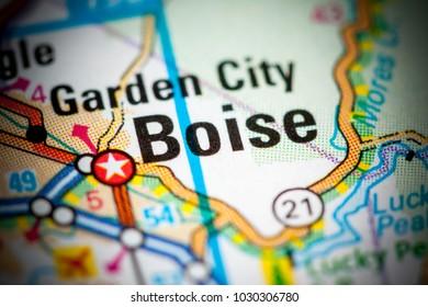 Boise. Idaho. USA on a map.