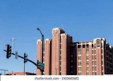 Boise, Idaho / USA - September 12, 2019: The facade of the St. Luke's hospital building against a blue sky in downtown Boise, Idaho