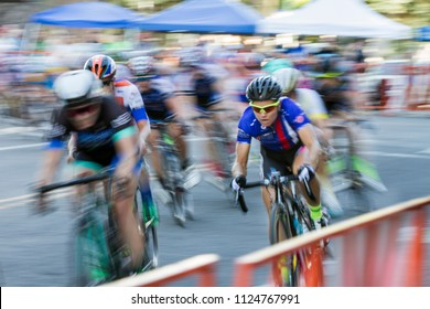 BOISE, IDAHO-JULY 16 2016: Biker racing through the streets of Boise, Idaho during the Twilight criterium