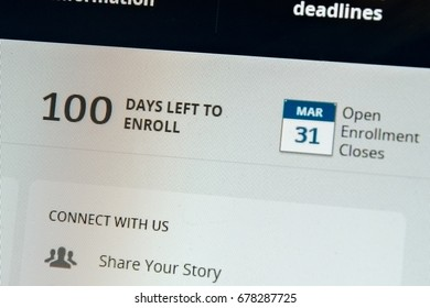 BOISE, IDAHO/USA - JANUARY 16, 2013: Healthcare.gov website showing 100 days left to enroll during open enrollment