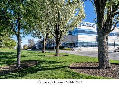 Boise, ID/USA - April 17, 2014: Micron Technology Boise . Micron is a leading company in semiconductor manufacturing. Semiconductors are in demand throughout the world.