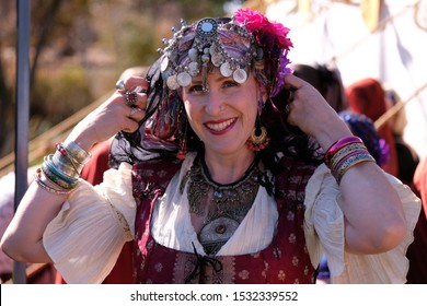 Boise, ID/USA-Oct.12, 2019:A local Renaissance street fair here today brought history to life with musicians, dancers, fortune tellers, knights, lords &ladies. The fair's goal is to preserve history.