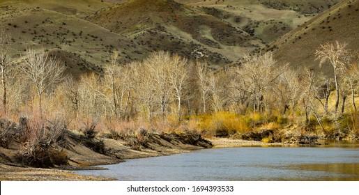 The Boise River in Southeast Boise, Idaho, USA