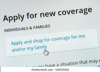 BOISE,IDAHO/USA - DECEMBER 21 2013: Applying for coverage on the healthcare.gov website.