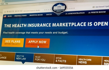 BOISE,IDAHO/USA - DECEMBER 21 2013: Whitehouse.gov displays information about the Affordable Healthcare Act and directs to healthcare.gov to apply