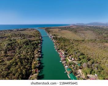Bojana river and Ada Island in Ulcinj, Montenegro