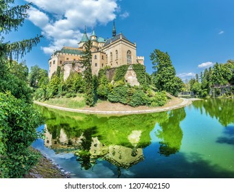 Bojnice castle is mirrored in water, Slovak republic. Cultural heritage. Travel destination.