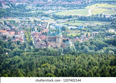 Bojnice castle from sightseeing tower, Slovak republic. Architectural theme. Travel destination.
