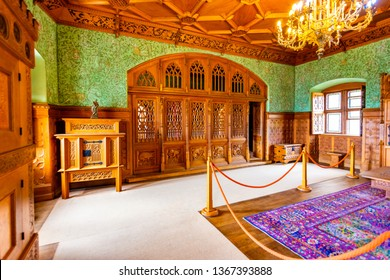 BOJNICE, SLOVAKIA - 25.08.2018: Bojnice medieval castle interior, UNESCO heritage, Slovakia. Romantic castle with gothic and Renaissance elements built in 12th century. Interior equipment and rooms.