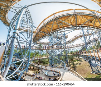 BOJNICE, SLOVAKIA – AUGUST 29, 2018: Many tourists in sightseeing tower, Bojnice, Slovakia. Tourist attraction. Panoramic photo. Traveling and learning. Illustrative editorial.