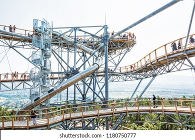 BOJNICE, SLOVAKIA – AUGUST 29, 2018: Tourists in sightseeing tower, Bojnice, Slovakia. Tourist attraction. Traveling and learning. Illustrative editorial.