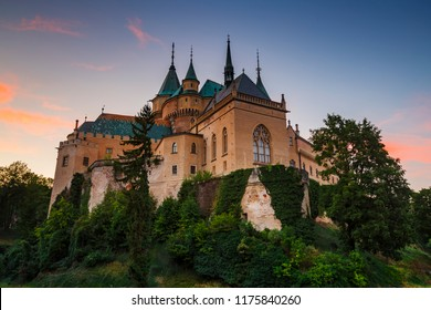 Bojnice, Slovakia - July 24, 2018: Romantic medieval castle with original Gothic and Renaissance elements built in the 12th century.