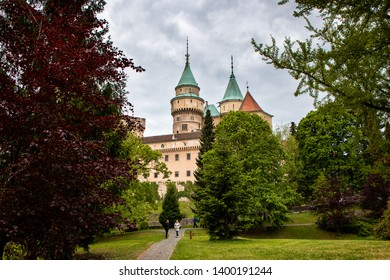 Bojnice / Slovakia - May 07 2019: Bojnice medieval castle, UNESCO heritage in Slovakia. Romantic castle with gothic and Renaissance elements built in 12th century.