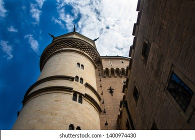 Bojnice / Slovakia - May 07 2019: Bojnice medieval castle, UNESCO heritage in Slovakia. Romantic castle with gothic and Renaissance elements built in 12th