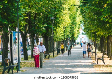 BOJNICE, SLOVAKIA - SEPTEMBER 15, 2016: Bojnice city center, tree alea.