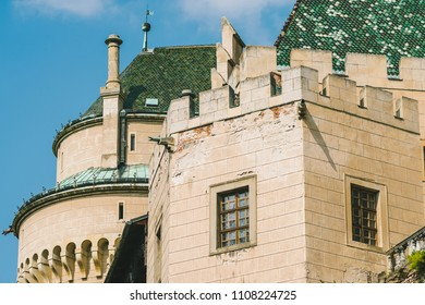 BOJNICE, SLOVAKIA - SEPTEMBER 15, 2016: Bojnice medieval castle, UNESCO heritage, Slovakia. It is a Romantic castle with some original Gothic and Renaissance elements built in the 12th century