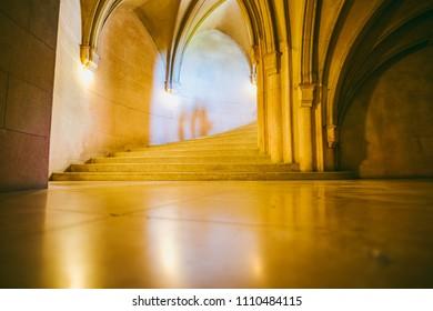 BOJNICE, SLOVAKIA - SEPTEMBER 15, 2016: Interior of Bojnice medieval castle, UNESCO heritage, Slovakia