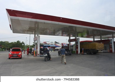 Bojonegoro, Indonesia-January 12, 2017: PERTAMINA petrol station in Bojonegoro,Indonesia on January 12, 2017. PERTAMINA is based in Jakarta and the world's largest producer and exporter of Liquefied N