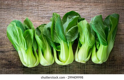 Bok choy vegetable on wooden background