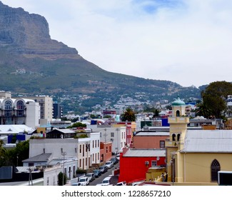 Bo-Kaap a historic Cape Town neighbourhood formally known as the Malay quarter, with brightly painted Edwardian dutch houses.   Cape Town, South Africa. November 2018