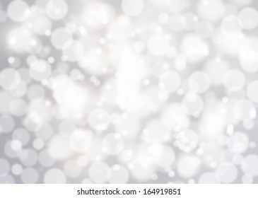 Bokeh Abstract background with glowing magic soft holiday lights, Light silver dimond blur effect