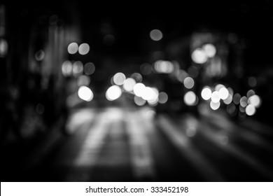Bokeh Asia city street for background Black and White tone