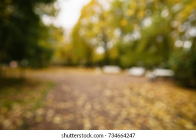 bokeh background of autumn town with golden fall trees and fallen leaves
