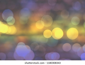 Bokeh Background. Blurred colorful light, violet, purple, yellow, red, pink, white in soft  fading tone. Abstract impressive distress wallpaper tone.