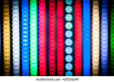Bokeh background of Different LED strips on black background